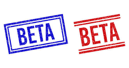 BETA rubber watermarks with grunge texture. Vectors designed with double lines, in blue and red variants. Tag placed inside double rectangle frame and parallel lines.
