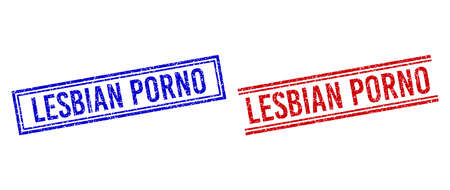 LESBIAN stamp watermarks with grunge style. Vectors designed with double lines, in blue and red versions. Tag placed inside double rectangle frame and parallel lines.