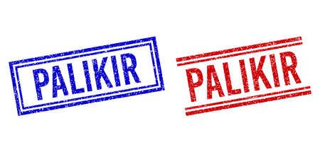 PALIKIR seal watermarks with grunge effect. Vectors designed with double lines, in blue and red versions. Phrase placed inside double rectangle frame and parallel lines.