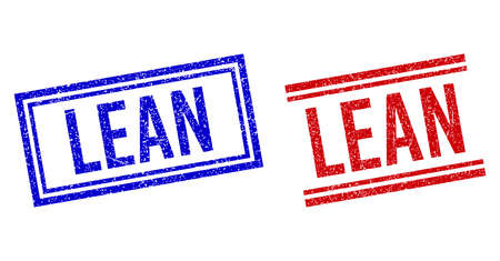 LEAN rubber watermarks with grunge texture. Vectors designed with double lines, in blue and red colors. Label placed inside double rectangle frame and parallel lines.