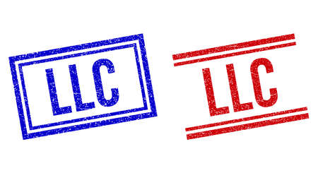 LLC stamp overlays with distress style. Vectors designed with double lines, in blue and red versions. Label placed inside double rectangle frame and parallel lines.