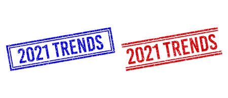 2021 TRENDS rubber watermarks with grunge style. Vectors designed with double lines, in blue and red versions. Label placed inside double rectangle frame and parallel lines.