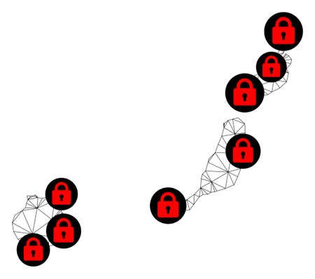 Polygonal mesh lockdown map of Las Palmas Province. Abstract mesh lines and locks form map of Las Palmas Province. Vector wire frame 2D polygonal line network in black color with red locks.