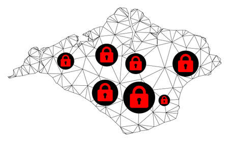 Polygonal mesh lockdown map of Isle of Wight. Abstract mesh lines and locks form map of Isle of Wight. Vector wire frame 2D polygonal line network in black color with red locks. Vetores