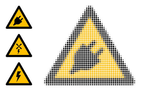 Halftone electric plug warning. Dotted electric plug warning generated with small round elements. Vector illustration of electric plug warning icon on a white background. Vetores