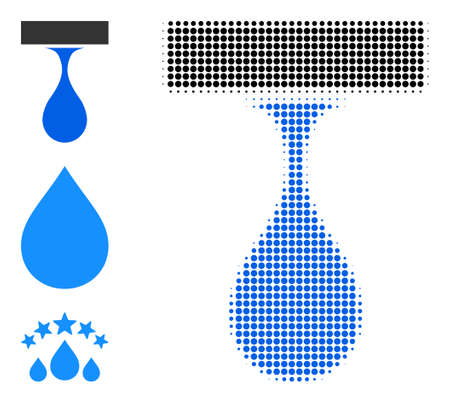 Halftone drip drop. Dotted drip drop made with small round items. Vector illustration of drip drop icon on a white background. Halftone array contains round pixels.