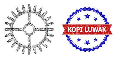 Crossing mesh clock gearwheel model icon, and bicolor unclean Kopi Luwak watermark. Flat mesh created from clock gearwheel pictogram and crossing lines. Vector watermark with grunge bicolored style,