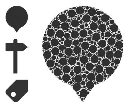 Itself recursive collage banner. Vector banner collage is done from randomized itself banner parts. Flat illustration.