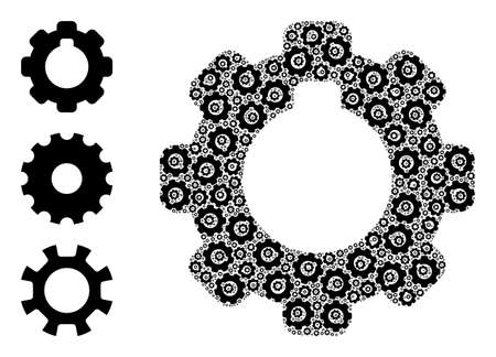 Itself recursive composition cogwheel. Vector cogwheel composition is formed from randomized recursive cogwheel pictograms. Abstract design.