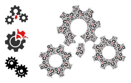 Itself fractal collage broken gear mechanism. Vector broken gear mechanism composition is composed from randomized itself broken gear mechanism icons. Flat illustration.