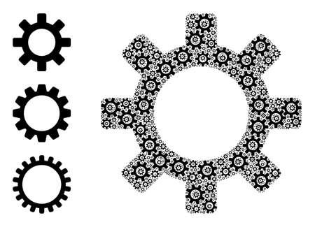 Itself recursion mosaic gearwheel. Vector gearwheel mosaic is formed of repeating itself gearwheel parts. Abstract design.