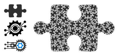 Itself fractal composition puzzle item. Vector puzzle item fractal is made with random fractal puzzle item elements. Flat design.