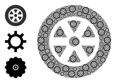 Itself fractal composition wheel. Vector wheel composition is done of scattered itself wheel pictograms. Flat illustration. Vektoros illusztráció