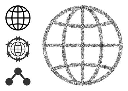 Itself fractal collage globe. Vector globe collage is organized of randomized fractal globe elements. Abstract illustration.