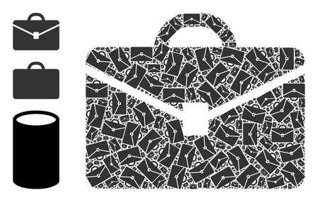 Itself recursive mosaic portfolio. Vector portfolio mosaic is made from repeating itself portfolio pictograms. Abstract illustration. Vektoros illusztráció
