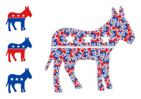 Itself fractal mosaic democratic donkey. Vector democratic donkey fractal is constructed with repeating fractal democratic donkey items. Flat illustration. Vektoros illusztráció