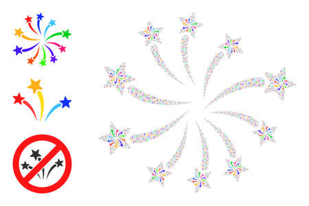 Itself fractal collage fireworks festival. Vector fireworks festival collage is composed from random itself fireworks festival icons. Flat design.