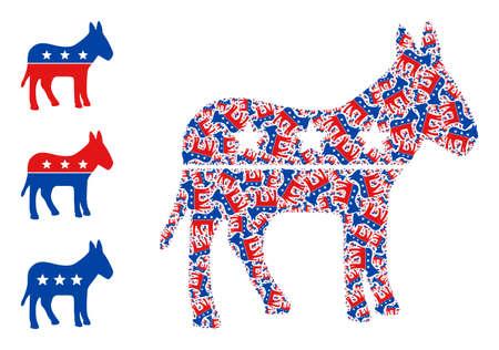 Itself fractal mosaic republican donkey. Vector republican donkey fractal is made with repeating itself republican donkey icons. Abstract design.