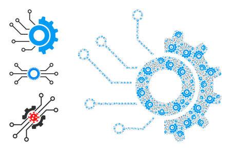 Itself fractal collage gear electronic factory. Vector gear electronic factory collage is done from randomized itself gear electronic factory icons. Abstract design. Vektoros illusztráció