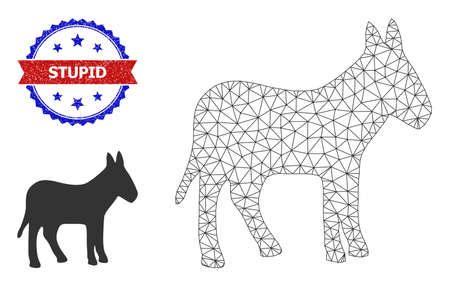 Mesh donkey carcass illustration, and bicolor textured Stupid seal stamp. Mesh carcass image designed with donkey icon. Vector watermark with Stupid text inside red ribbon and blue rosette,