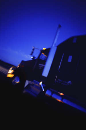 moving truck: Angled view of semi tractor Stock Photo