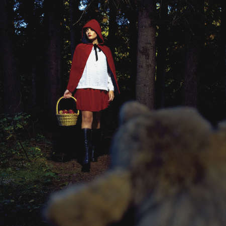 hooded: Woman in little red riding hood outfit