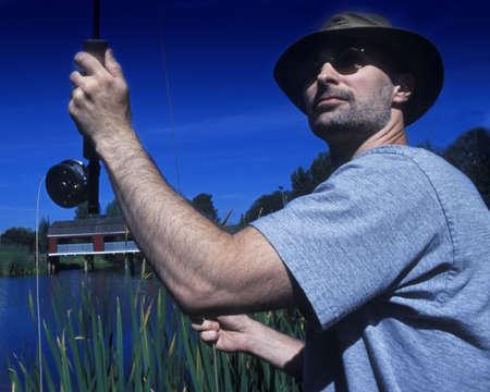 rushed: man fly fishing