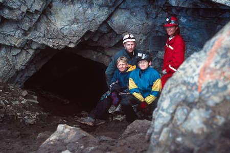caving: Portrait of family caving Stock Photo