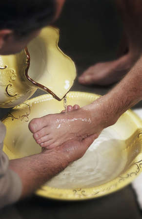 sirvientes: Lavado de pies Foto de archivo