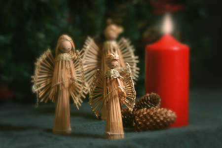 Angel decorations at Christmas Stock Photo