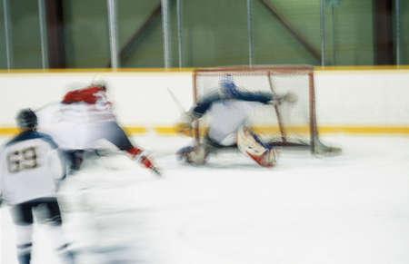 don hammond: Ice hockey goalie making save Stock Photo