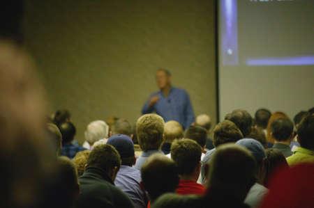 Leader speaking to a crowd Stock fotó