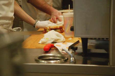 hygenic: Sandwich making Stock Photo