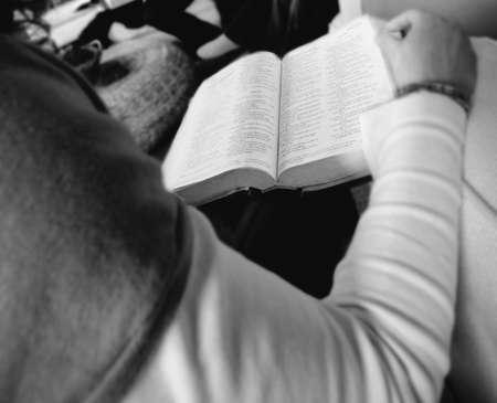 study: Reading the Bible Stock Photo
