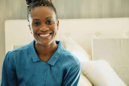 Woman smiles Stock Photo