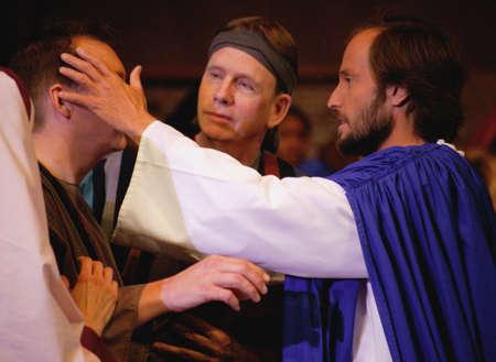 heals: Jesus heals a blind man Stock Photo