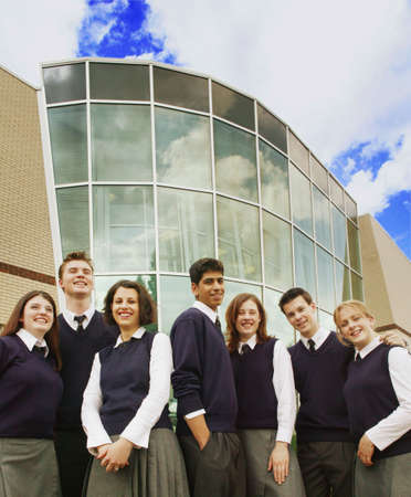 uniform student: Group of high school students Stock Photo