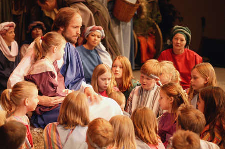 righteous: Jesus with the children Stock Photo