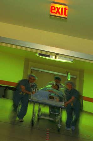 Wheeling a patient