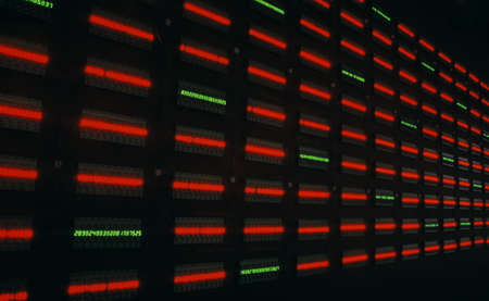 carson ganci: Digital time in binary code Stock Photo