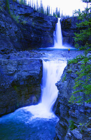 Waterfall in the mountains Crescent Falls Alberta