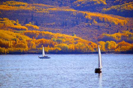 Sailboat on a lake Stock Photo