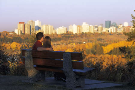reminisce: Couple enjoys the view Stock Photo