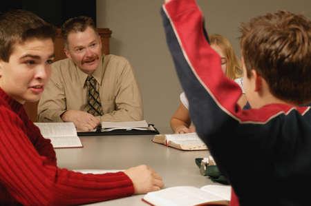 Student asks question photo