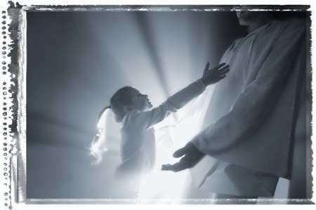 the runs: Child runs into the arms of Jesus