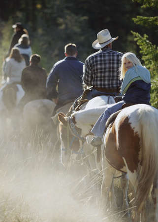 horseback riding: Child goes for a trail ride Stock Photo