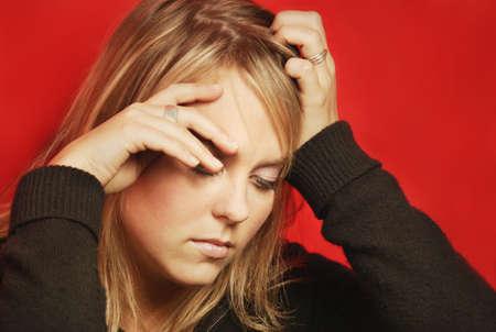 glubish: Woman feels sad Stock Photo