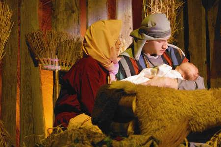 Joseph and Mary with baby Jesus photo