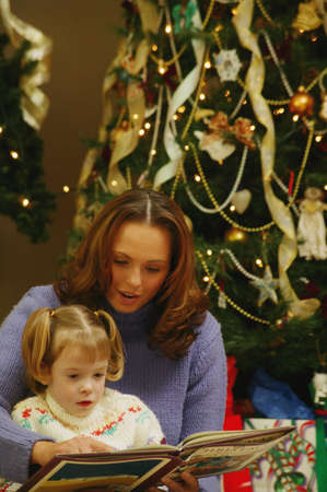 Reading a book on Christmas photo