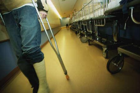 broken leg: Walking down a hospital hallway